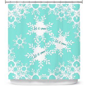 Premium Shower Curtains | Zara Martina - Let it Snow Mint | Holiday Snowflakes
