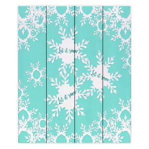 Decorative Wood Plank Wall Art   Zara Martina - Let it Snow Mint   Holiday Snowflakes