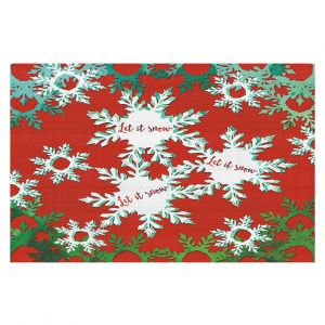 Decorative Floor Coverings | Zara Martina - Let It Snow Red Green | Holiday Snowflakes
