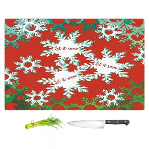 Artistic Kitchen Bar Cutting Boards | Zara Martina - Let It Snow Red Green | Holiday Snowflakes