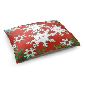 Decorative Dog Pet Beds | Zara Martina - Let It Snow Red Green | Holiday Snowflakes