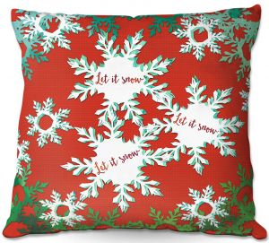 Throw Pillows Decorative Artistic | Zara Martina - Let It Snow Red Green | Holiday Snowflakes