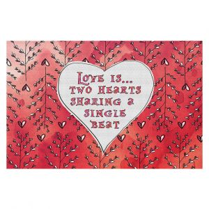 Decorative Floor Coverings | Zara Martina - Love Heart Trees On Red