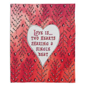 Decorative Fleece Throw Blankets | Zara Martina - Love Heart Trees On Red