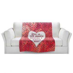 Artistic Sherpa Pile Blankets | Zara Martina - Love Heart Trees On Red
