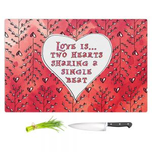 Artistic Kitchen Bar Cutting Boards | Zara Martina - Love Heart Trees On Red