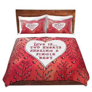 Artistic Duvet Covers and Shams Bedding | Zara Martina - Love Heart Trees On Red