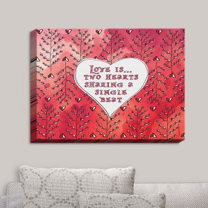 Decorative Canvas Wall Art | Zara Martina - Love Heart Trees On Red | Quotes Patterns Hearts