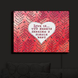 Nightlight Sconce Canvas Light | Zara Martina - Love Heart Trees On Red | Quotes Patterns Hearts