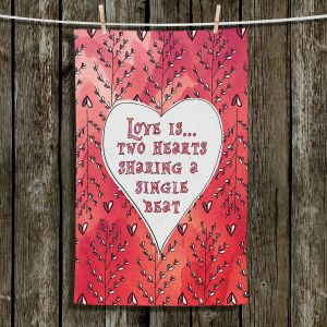 Unique Hanging Tea Towels | Zara Martina - Love Heart Trees On Red | Quotes Patterns Hearts