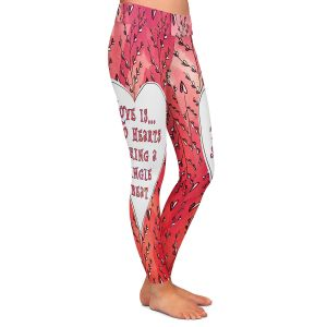 Casual Comfortable Leggings | Zara Martina - Love Heart Trees On Red