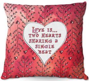 Decorative Outdoor Patio Pillow Cushion | Zara Martina - Love Heart Trees On Red