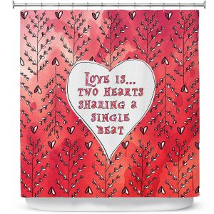 Premium Shower Curtains | Zara Martina - Love Heart Trees On Red