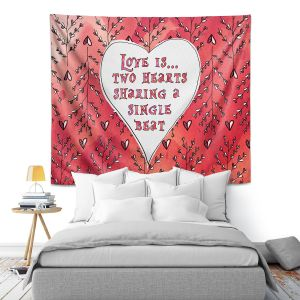 Artistic Wall Tapestry | Zara Martina - Love Heart Trees On Red