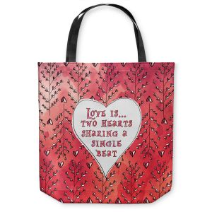 Unique Shoulder Bag Tote Bags | Zara Martina - Love Heart Trees On Red