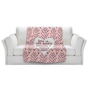 Artistic Sherpa Pile Blankets | Zara Martina - Love Heart Trees On Roses