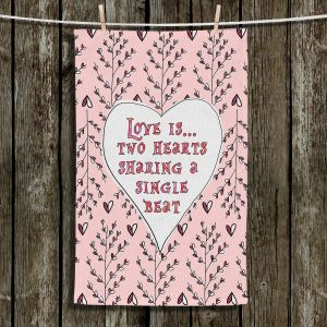 Unique Hanging Tea Towels | Zara Martina - Love Heart Trees On Roses | Quotes Patterns Hearts