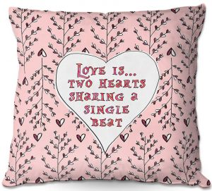 Decorative Outdoor Patio Pillow Cushion | Zara Martina - Love Heart Trees On Roses