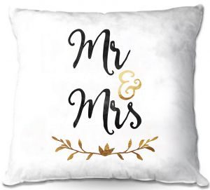 Decorative Outdoor Patio Pillow Cushion | Zara Martina - Mr. And Mrs. Black Gold