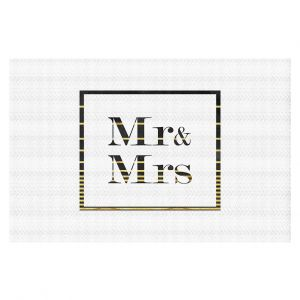 Decorative Floor Coverings | Zara Martina - Mr. And Mrs. Black Gold Stripe Border | Wedding