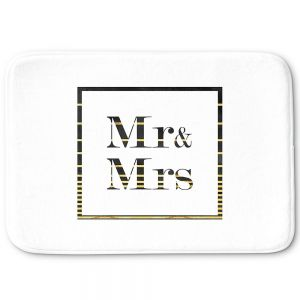 Decorative Bathroom Mats | Zara Martina - Mr. And Mrs. Black Gold Stripe Border | Wedding