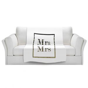 Artistic Sherpa Pile Blankets | Zara Martina - Mr. And Mrs. Black Gold Stripe Border | Wedding