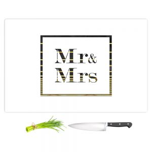 Artistic Kitchen Bar Cutting Boards | Zara Martina - Mr. And Mrs. Black Gold Stripe Border | Wedding