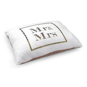 Decorative Dog Pet Beds | Zara Martina - Mr. And Mrs. Black Gold Stripe Border | Wedding
