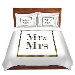 Artistic Duvet Covers and Shams Bedding | Zara Martina - Mr. And Mrs. Black Gold Stripe Border | Wedding