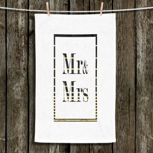 Unique Hanging Tea Towels | Zara Martina - Mr. And Mrs. Black Gold Stripe Border | Wedding