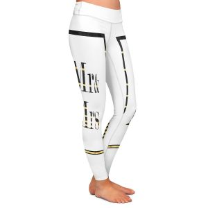 Casual Comfortable Leggings | Zara Martina - Mr. And Mrs. Black Gold Stripe Border | Wedding