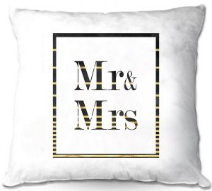 Decorative Outdoor Patio Pillow Cushion | Zara Martina - Mr. And Mrs. Black Gold Stripe Border | Wedding