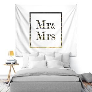 Artistic Wall Tapestry | Zara Martina - Mr. And Mrs. Black Gold Stripe Border | Wedding