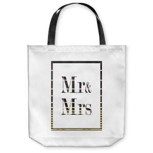 Unique Shoulder Bag Tote Bags | Zara Martina - Mr. And Mrs. Black Gold Stripe Border | Wedding