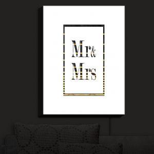 Nightlight Sconce Canvas Light | Zara Martina - Mr. And Mrs. Black Gold Stripe Border