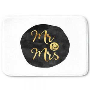 Decorative Bath Mat Small from DiaNoche Designs by Zara Martina - Mr And Mrs Gold Black Circle