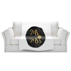 Artistic Sherpa Pile Blankets | Zara Martina - Mr. And Mrs. Gold Black Circle