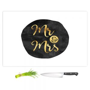 Artistic Kitchen Bar Cutting Boards | Zara Martina - Mr. And Mrs. Gold Black Circle
