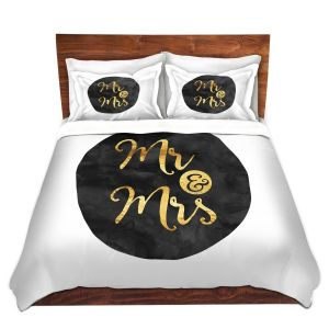 Artistic Duvet Covers and Shams Bedding | Zara Martina - Mr. And Mrs. Gold Black Circle