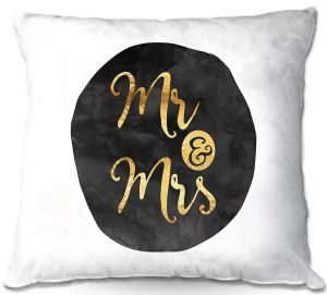 Decorative Outdoor Patio Pillow Cushion | Zara Martina - Mr. And Mrs. Gold Black Circle