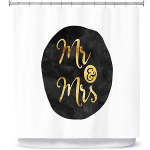 Premium Shower Curtains | Zara Martina - Mr. And Mrs. Gold Black Circle