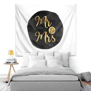 Artistic Wall Tapestry | Zara Martina - Mr. And Mrs. Gold Black Circle