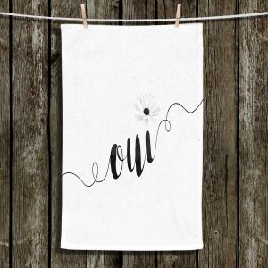 Unique Hanging Tea Towels | Zara Martina - Oui Daisy Black White | Oui French Daisy Flower