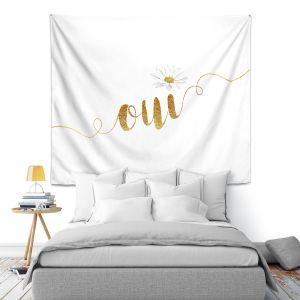 Artistic Wall Tapestry   Zara Martina - Oui Daisy Gold White