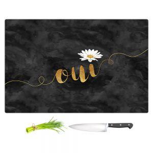 Artistic Kitchen Bar Cutting Boards | Zara Martina - Oui Daisy Pattern Gold Black