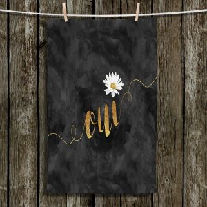 Unique Hanging Tea Towels | Zara Martina - Oui Daisy Pattern Gold Black | Oui French Daisy Flower