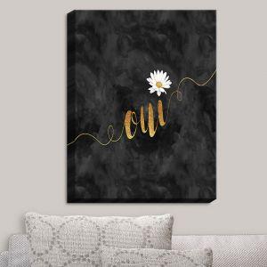 Decorative Canvas Wall Art | Zara Martina - Oui Daisy Pattern Gold Black | Oui French Daisy Flower