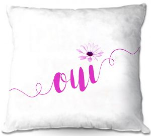 Decorative Outdoor Patio Pillow Cushion | Zara Martina - Oui Daisy Pattern Pink