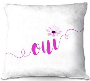 Throw Pillows Decorative Artistic | Zara Martina - Oui Daisy Pattern Pink