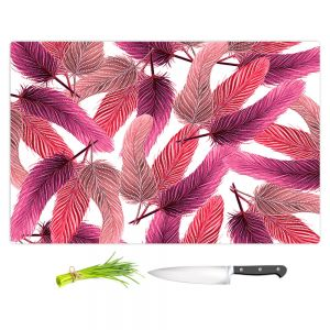 Artistic Kitchen Bar Cutting Boards | Zara Martina - Pink Feathered | bird feather pattern